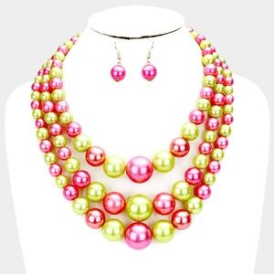 Pink and Green Beaded Pearl Strand Necklace Set